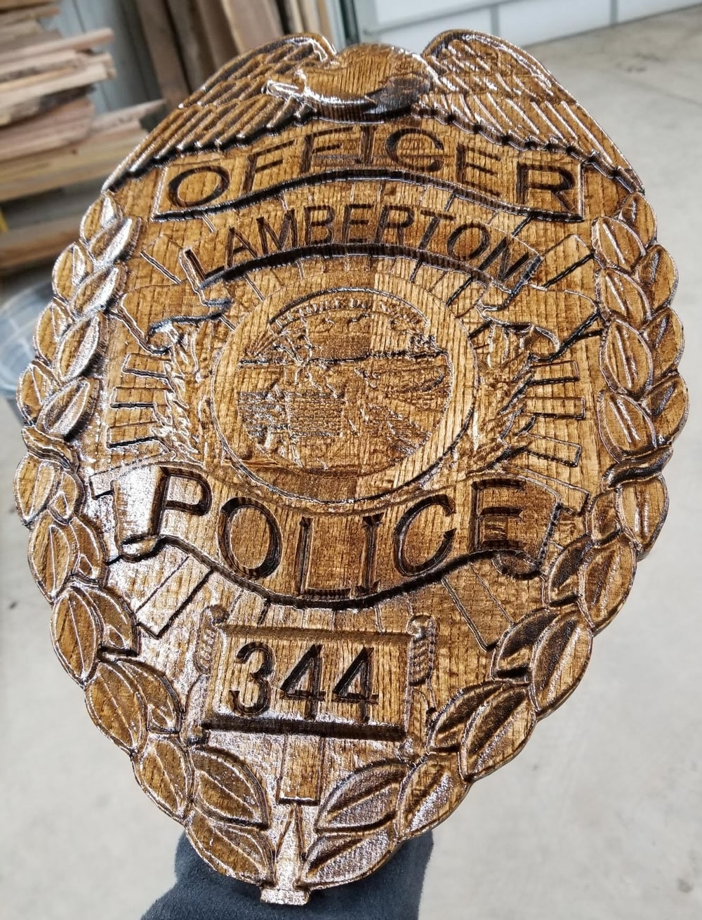 police badge sign - Lamberton Police Department - Colby Davis and Rob Davis - Hinterland Art Crawl