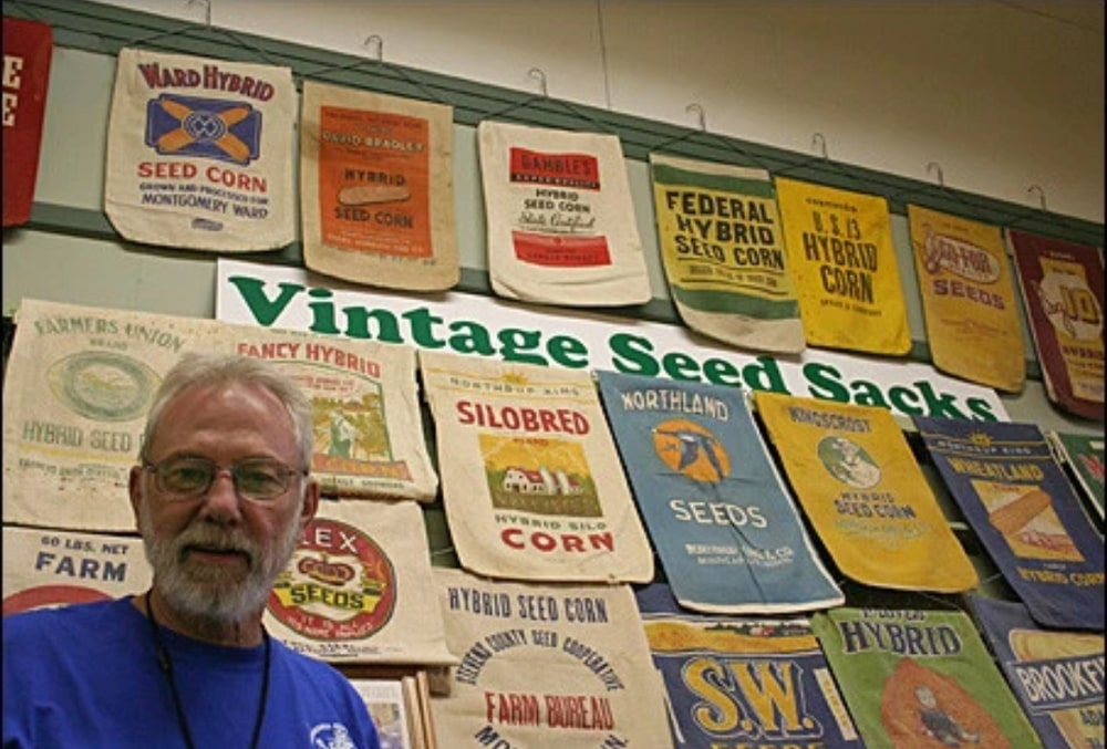 Part of Ron Kelsey's seed sack collection, which totals nearly 1,000 sacks.